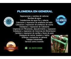 Servicio de Plomeria en general y gasista matriculado